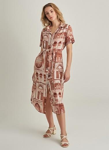 NGSTYLE Desenli Gömlek Elbise Kiremit